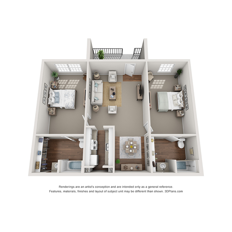 Floor plan image of 2 Bed 2 Bath E