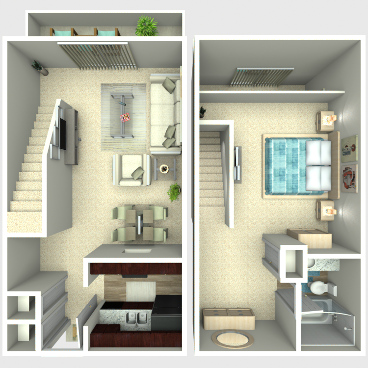 Floor plan image of 1 Bed 1 Bath Loft