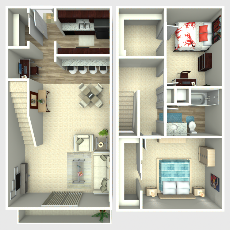 Floor plan image of 2 Bed 1 Bath TH