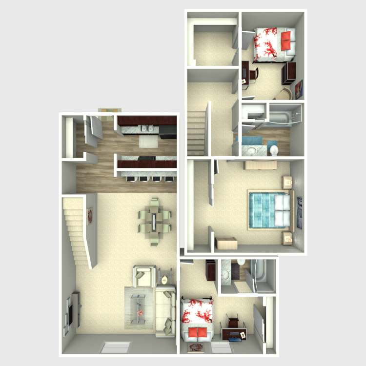 Floor plan image of 3 Bed 2 Bath TH