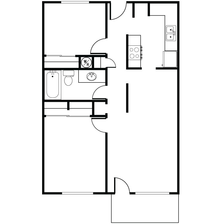 2 Bed 1 Bath Furnish This Floor Plan