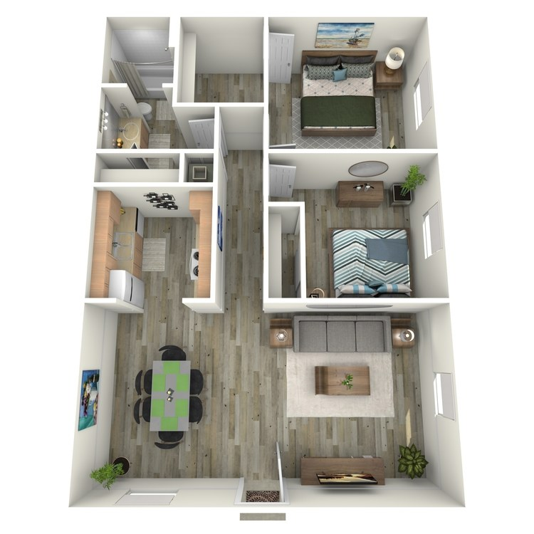 Floor plan image of Two Bedroom One Bath