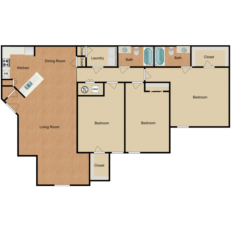 Floor plan image of Three Bedroom A