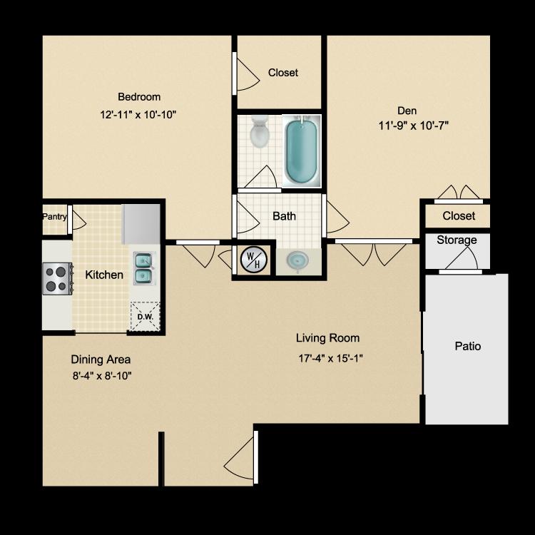 Floor plan image of One Bdrm/Den/One Bath (C)