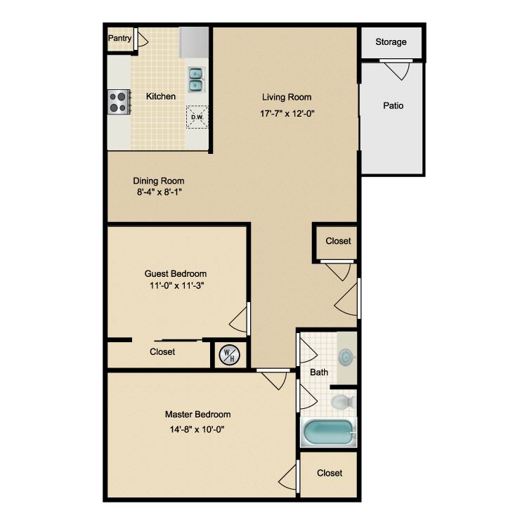 Floor plan image of Two Bdrm/One Bath (A)