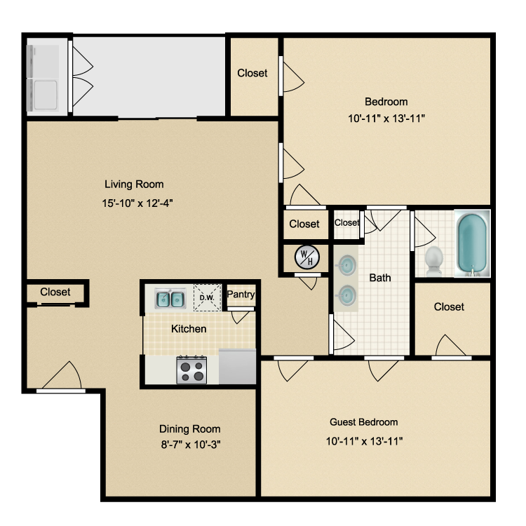 Floor plan image of Two Bdrm/One Bath (B) W/D