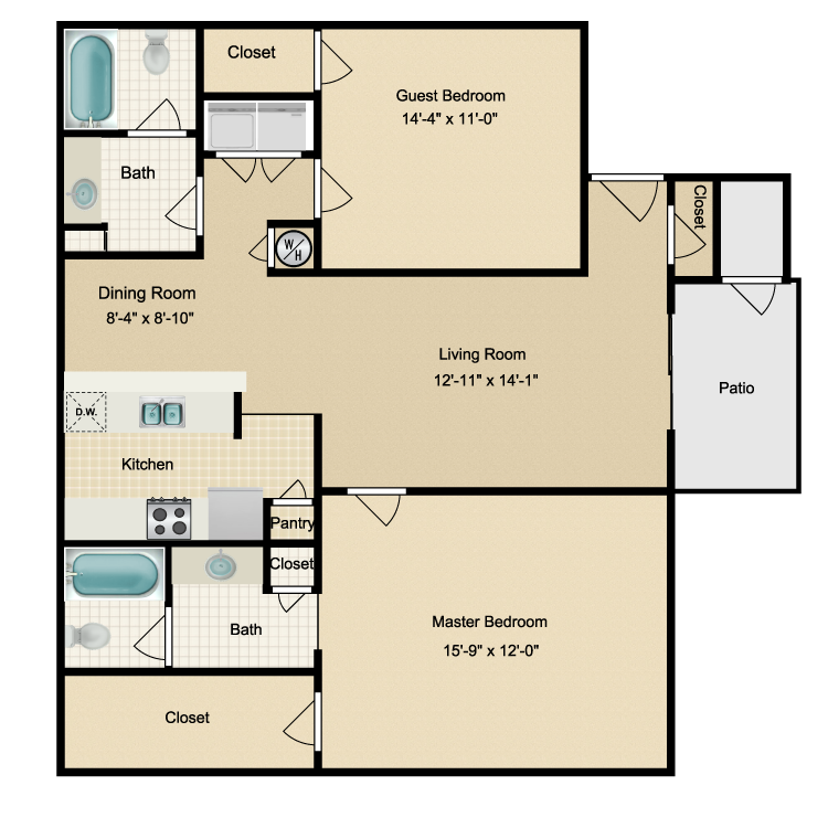 Floor plan image of Two Bdrm/Two Bath (A)