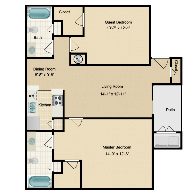 Floor plan image of Two Bdrm/Two Bath (B) W/D