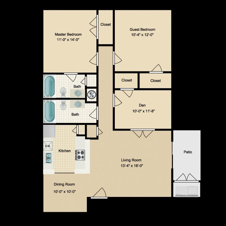 Floor plan image of Two Bdrm/Den/Two Bath (D) W/D