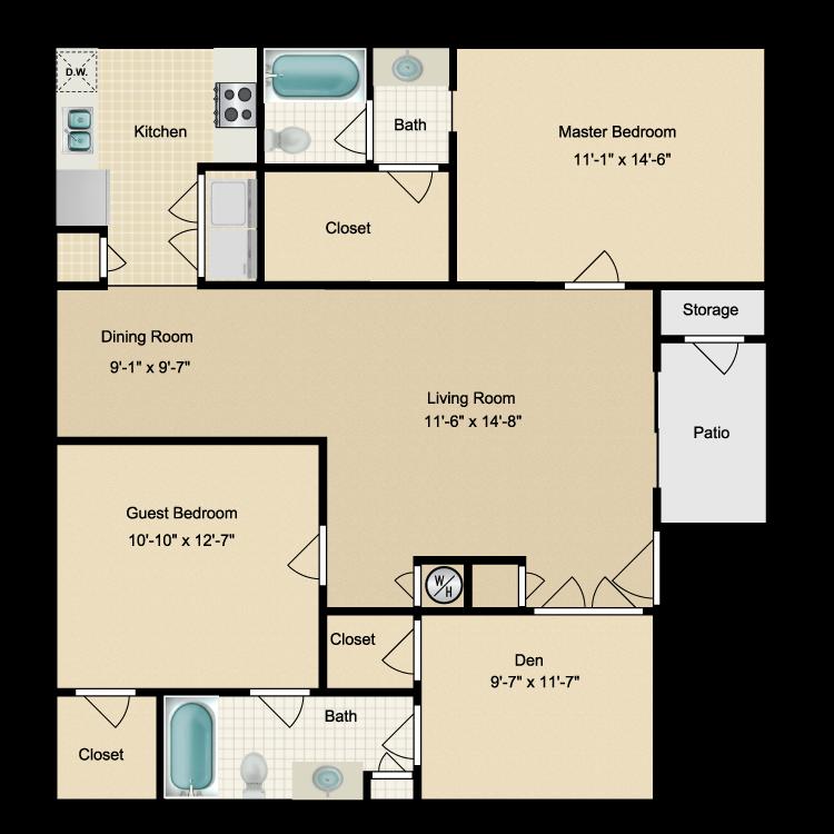 Floor plan image of Two Bdrm/Den/Two Bath (E) W/D