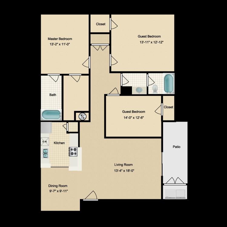 Floor plan image of Three Bdrm/Two Bath (B)