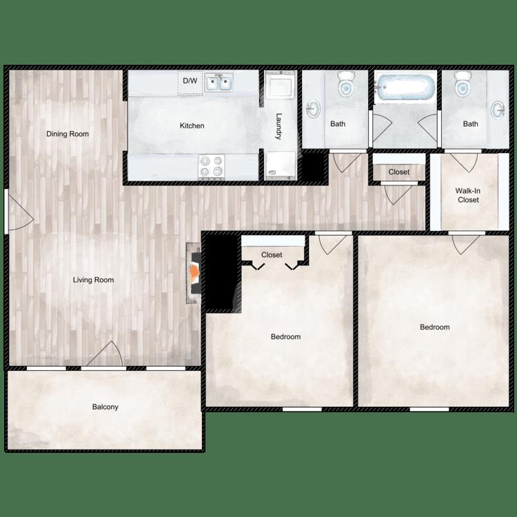 Floor plan image of 2 Bed 1.5 Bath Garden