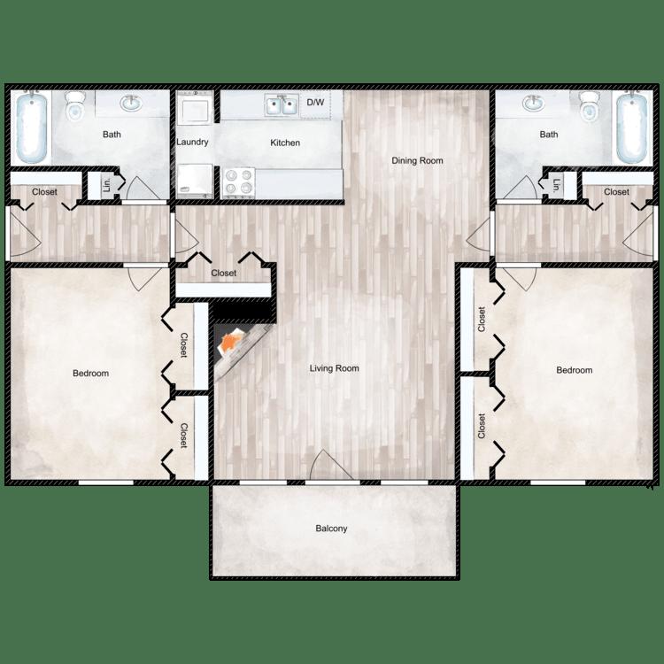 Floor plan image of 2 Bed 2 Bath Roommate