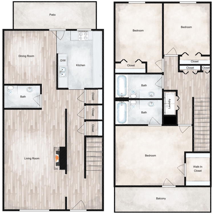 Floor plan image of 3 Bed 2.5 Bath Townhome
