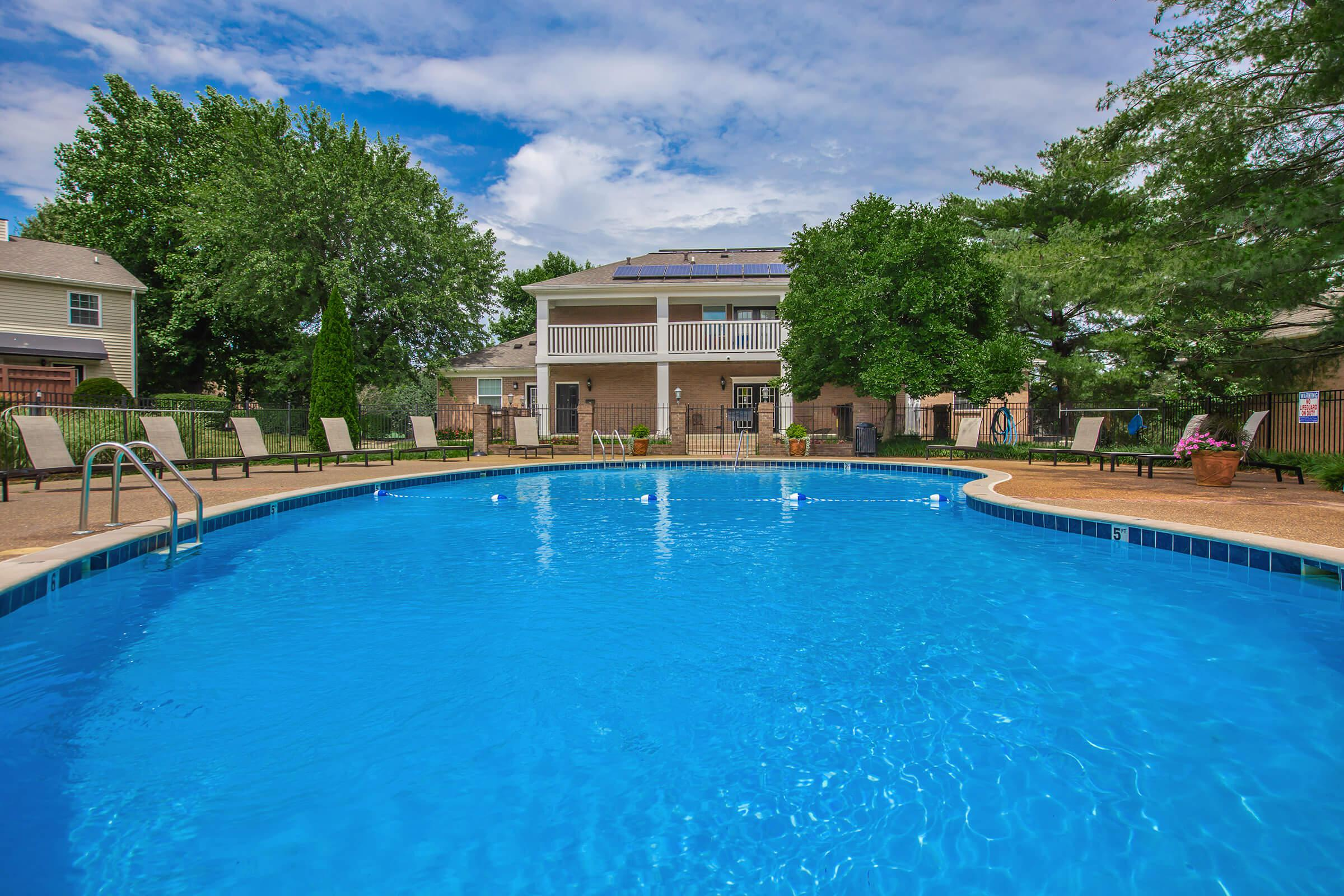 Shimmering swimming pool at British Woods Apartments in Nashville, TN