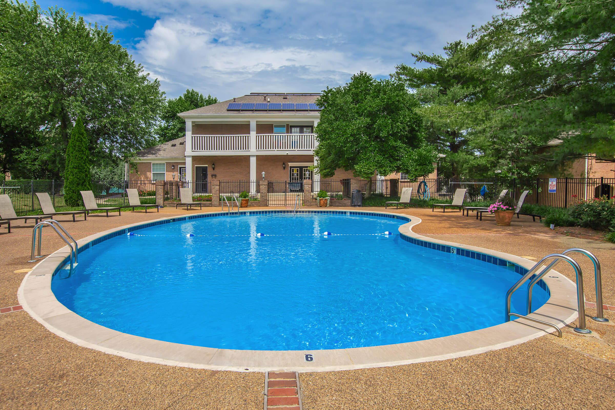 Sparkling swimming pool at British Woods Apartments