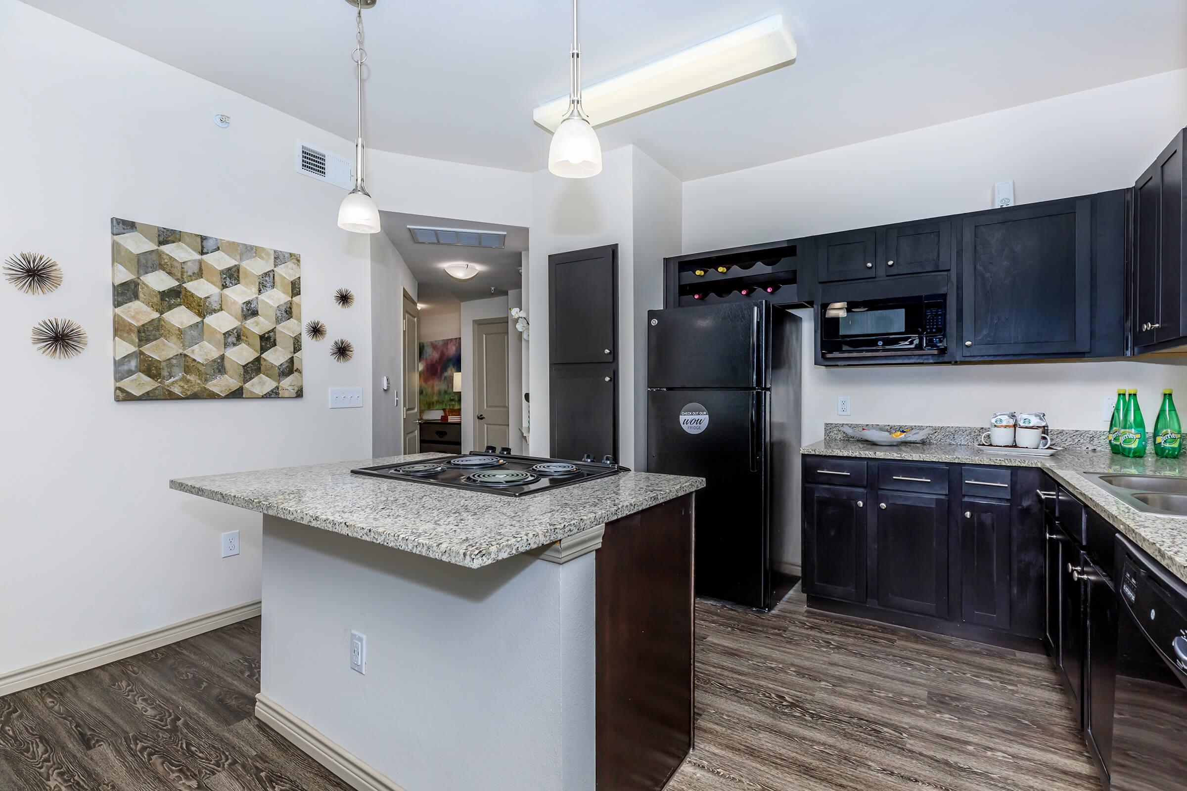 a kitchen with lots of counter space