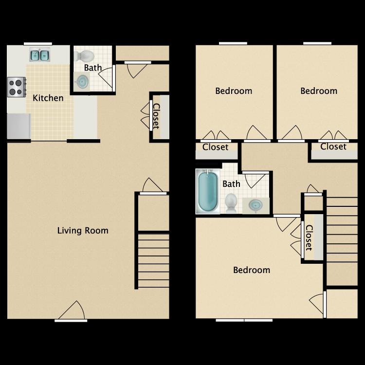 Floor plan image of 3 Bed 1.5 Bath Townhome