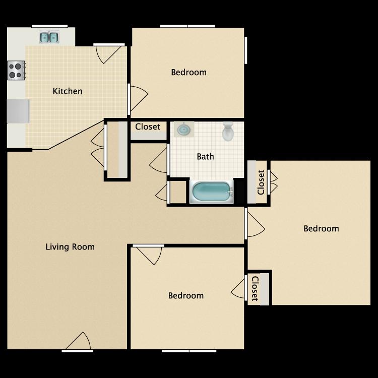 Floor plan image of 3 Bed 1 Bath HC