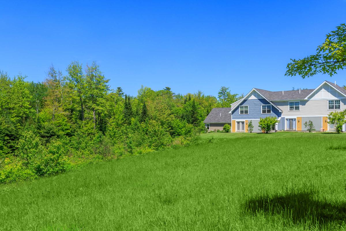 a house in the middle of a lush green field