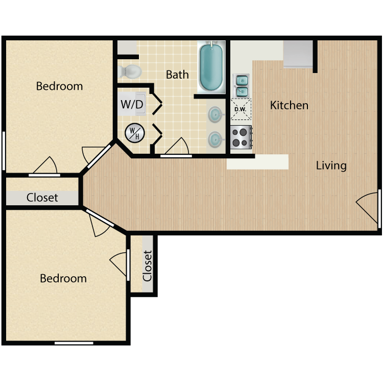 Floor plan image of 840 2 Bed