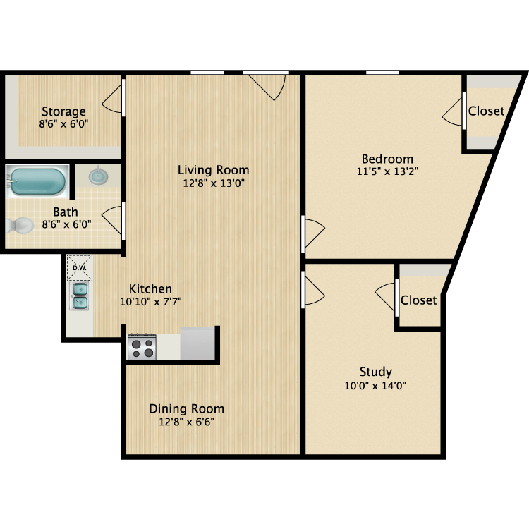 Floor plan image of 1 Bed 802