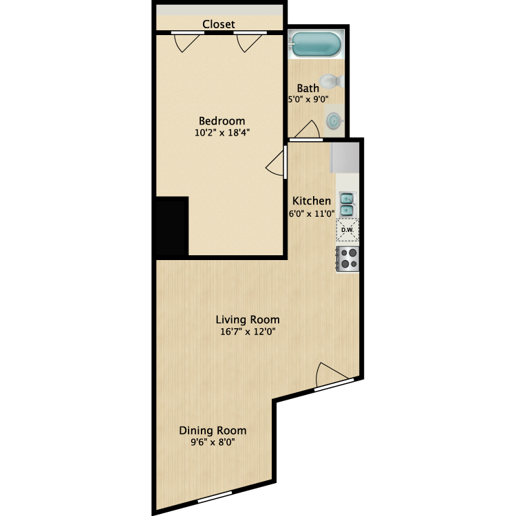 Floor plan image of 1 Bed 804