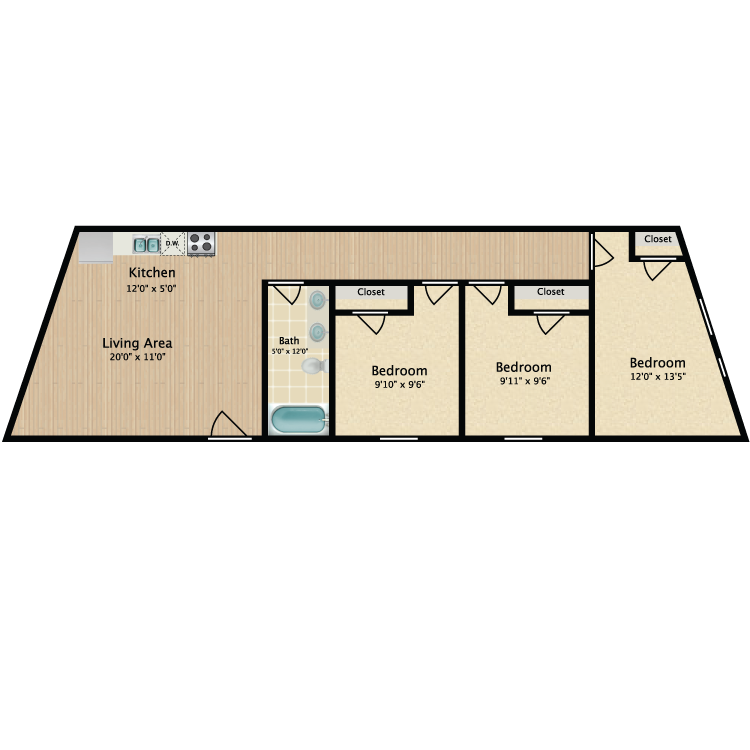 Floor plan image of 3 Bed 814