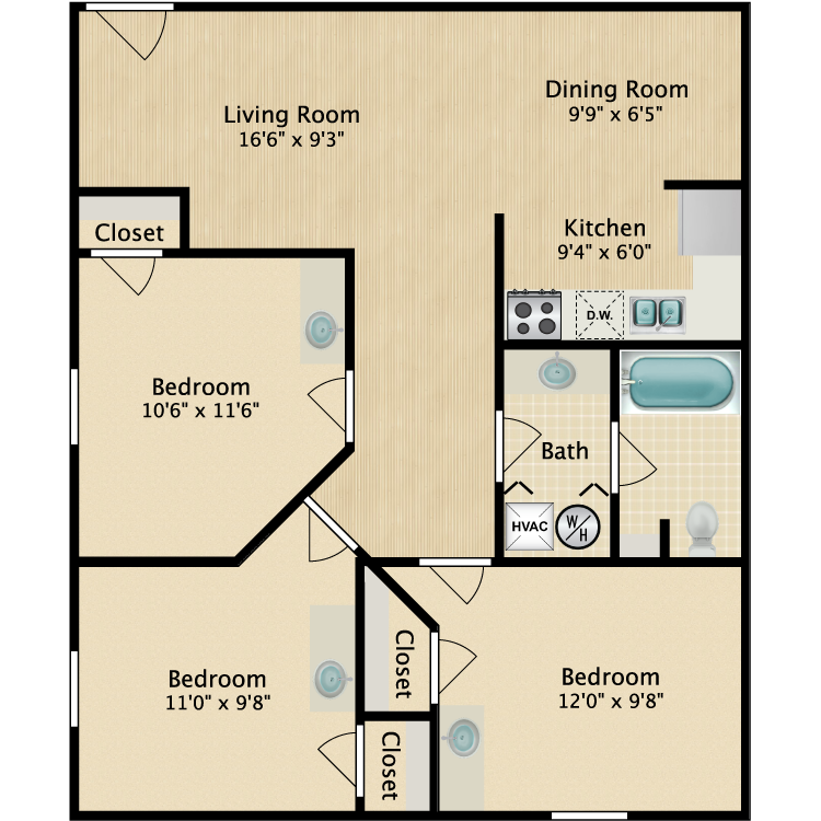 Floor plan image of 3 Bed 840