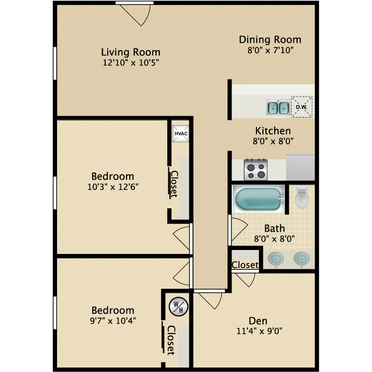 Floor plan image of 2 Bed Chesterfield