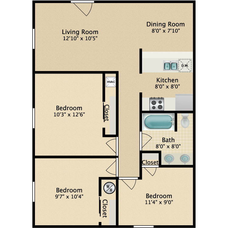 Floor plan image of 3 Bed Chesterfield