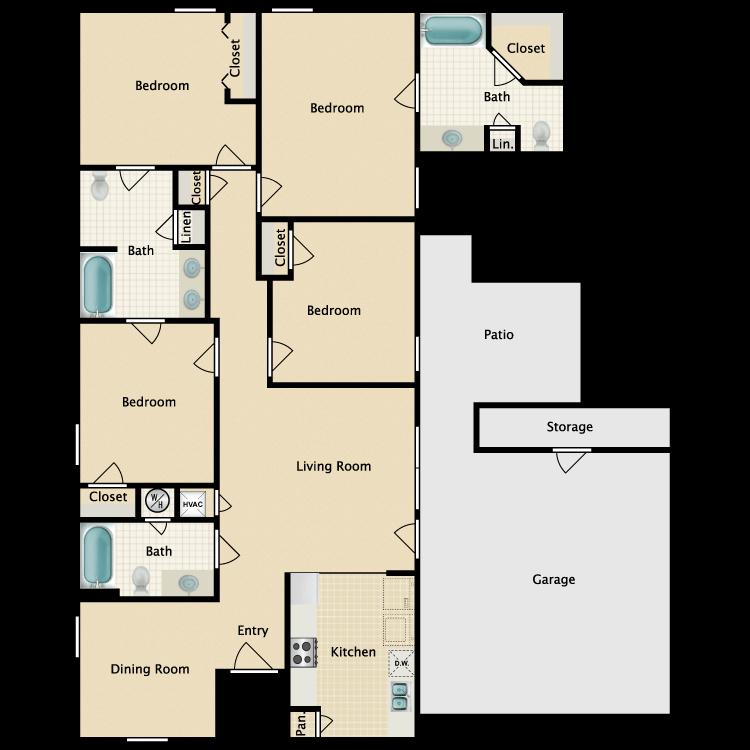 Floor plan image of 4 Bed 3 Bath