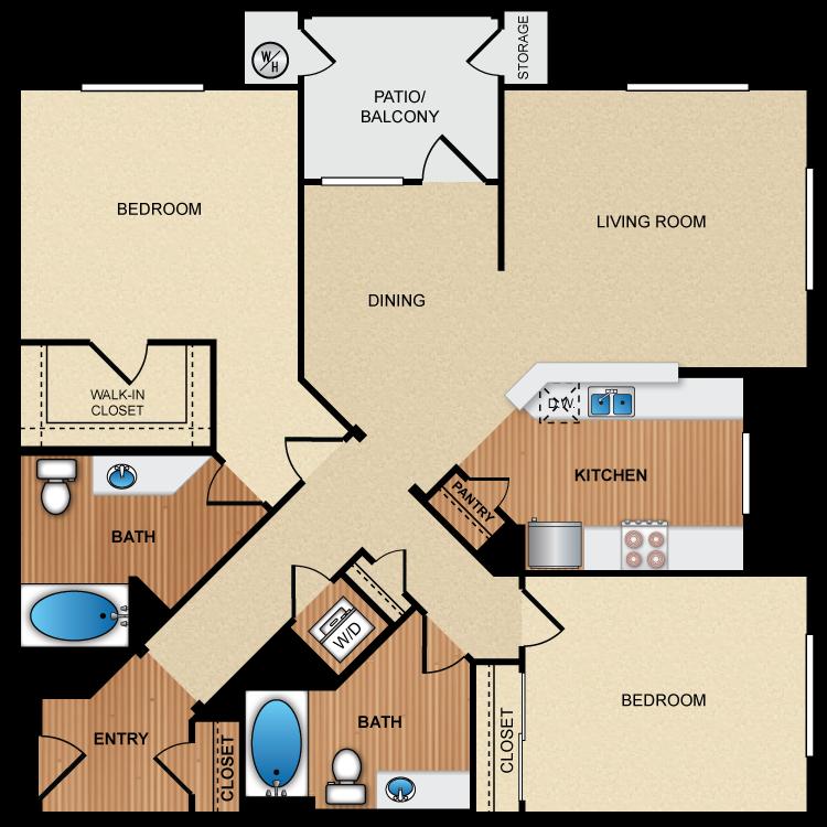 Floor plan image of 2D2