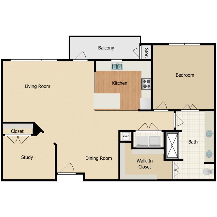 Floor plan image of King 1 Bed + Home Work Niche