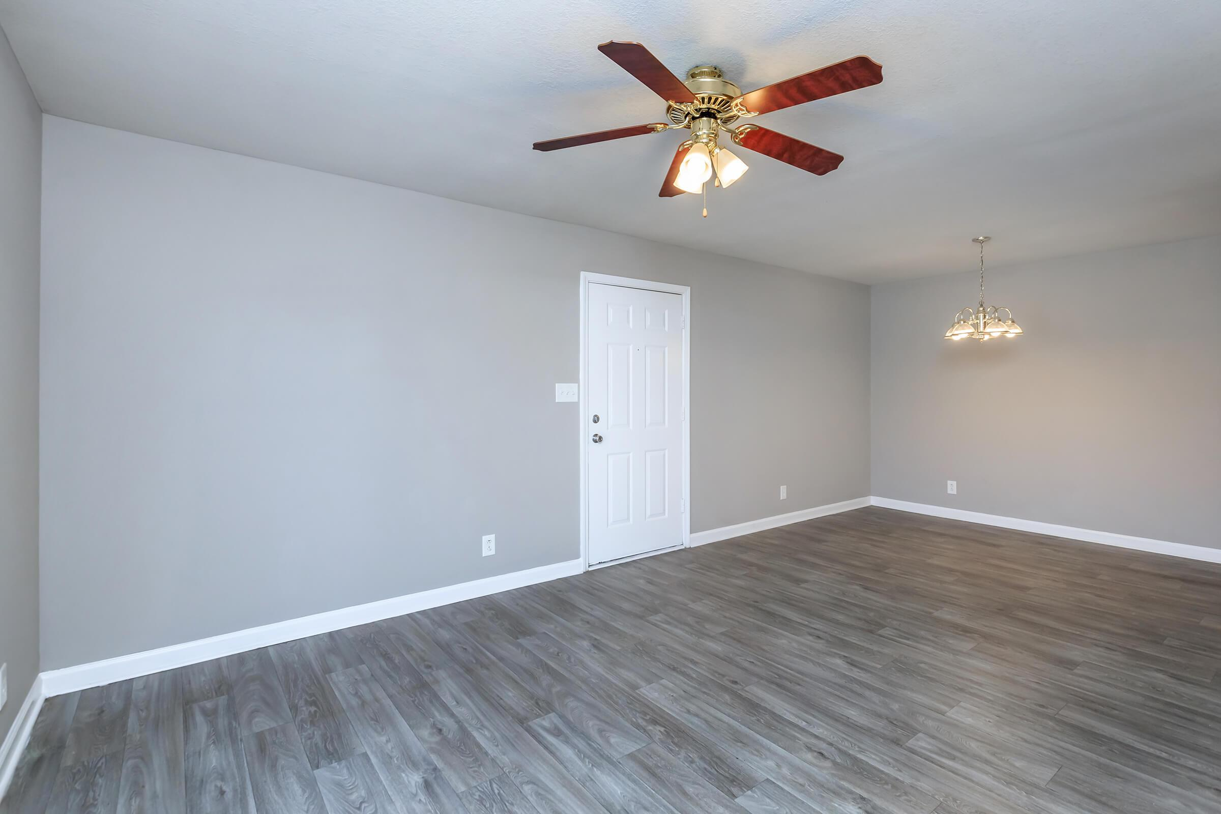 Ceiling fans in two bedroom apartment