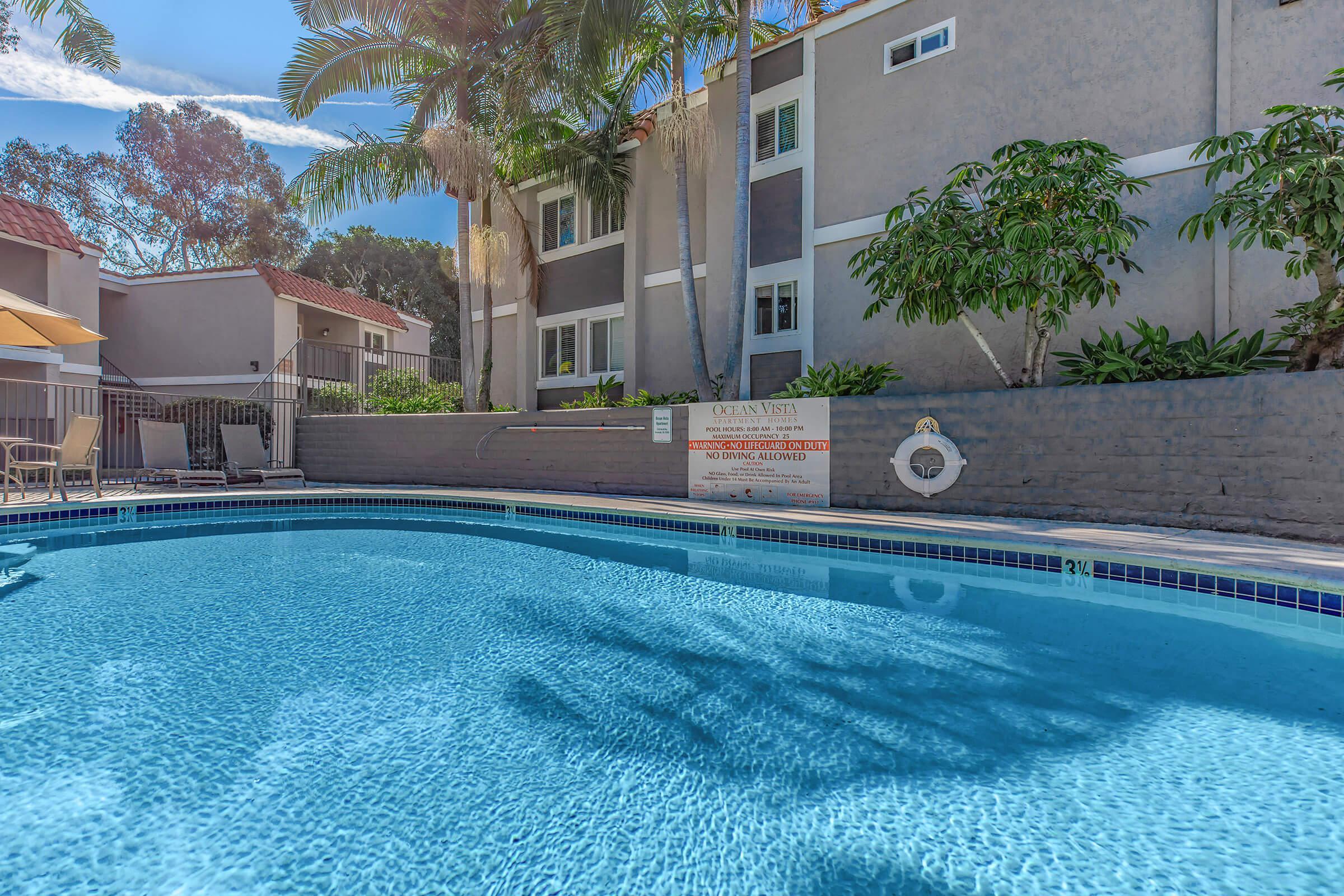 Pool at Ocean Vista Apartments in Oceanside, CA