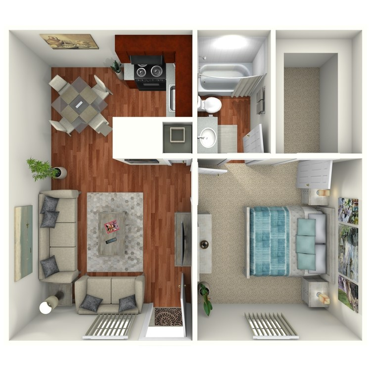 Floor plan image of 1 Bed 1 Bath Downstairs