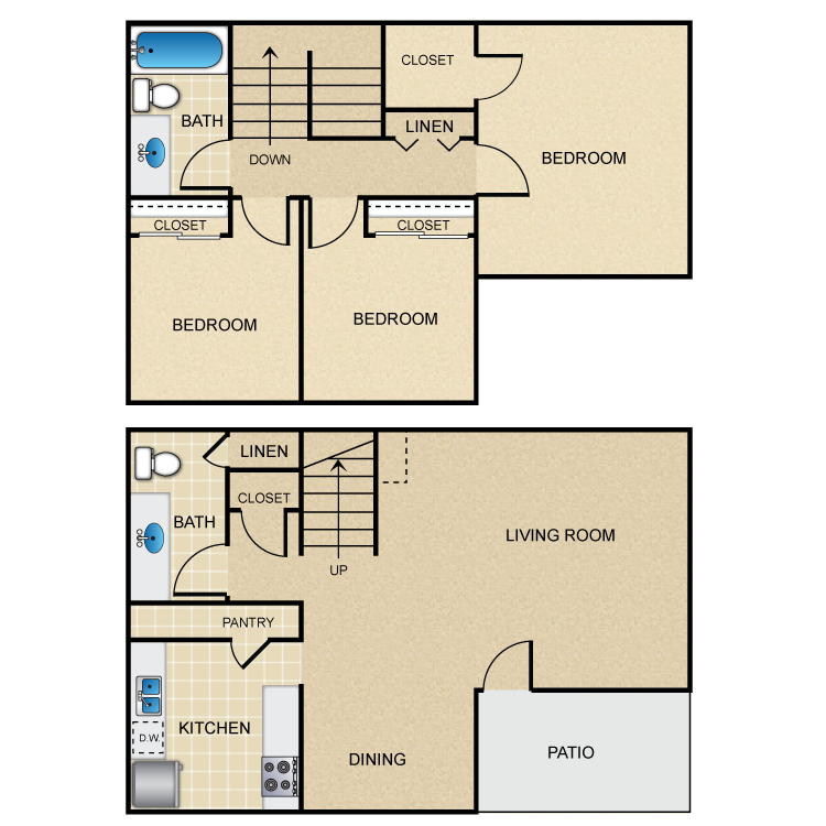 Floor plan image of 3 Bed 1.5 Bath L