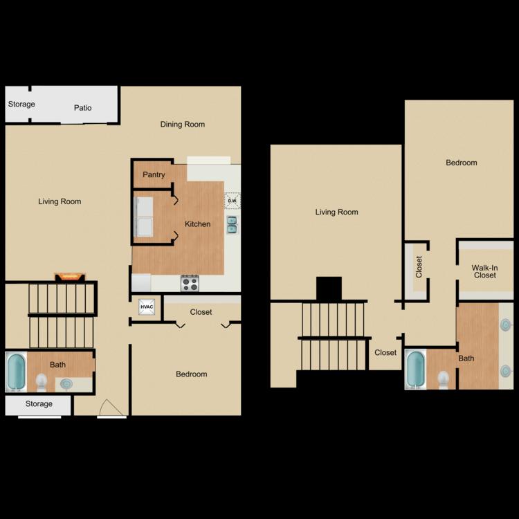 Floor plan image of 2 Bed 2 Bath Townhouse