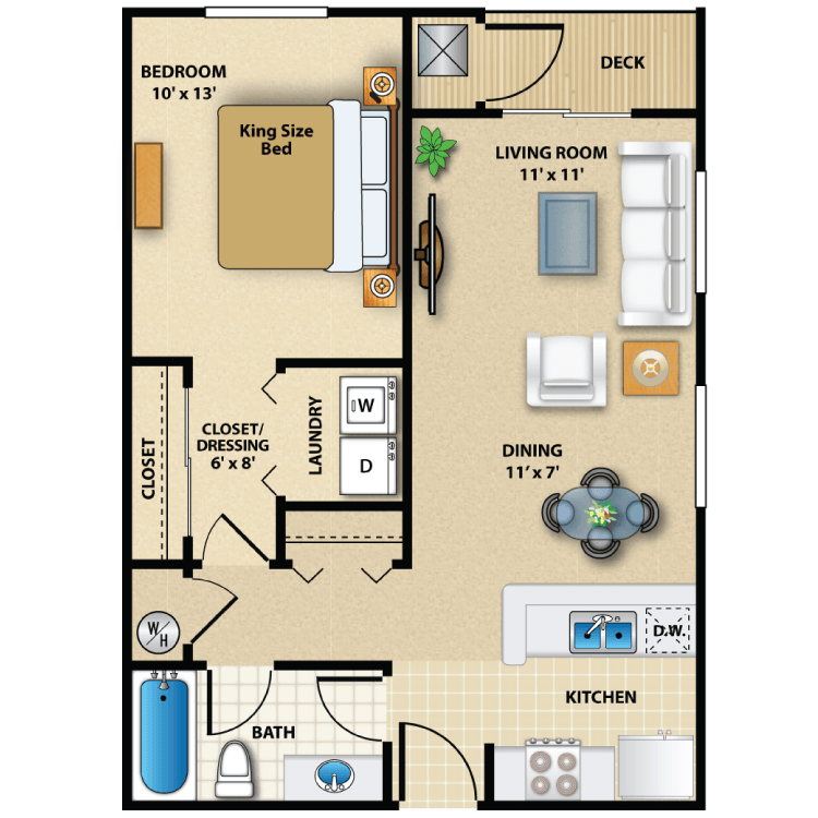 Floor plan image of One Bed Exterior