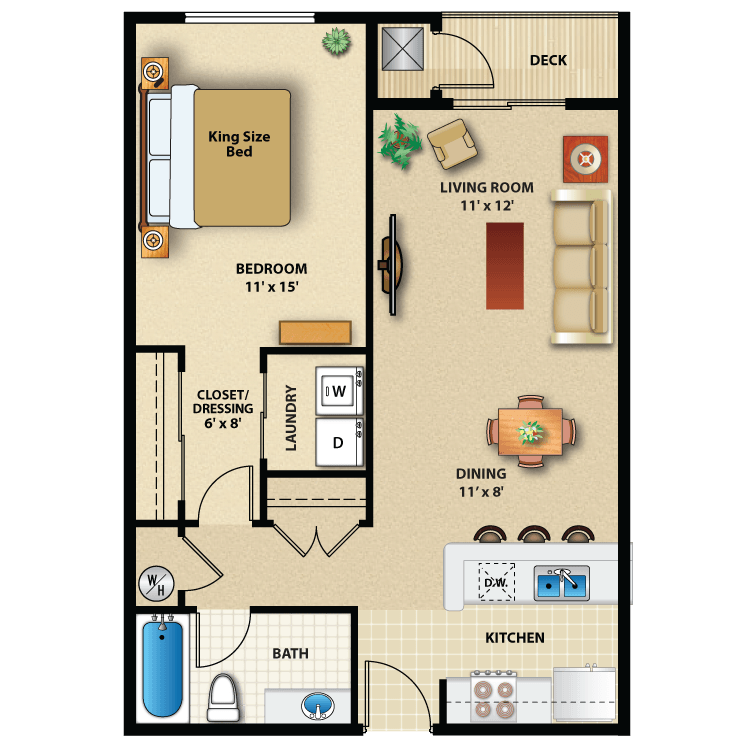 Floor plan image of One Bed Interior