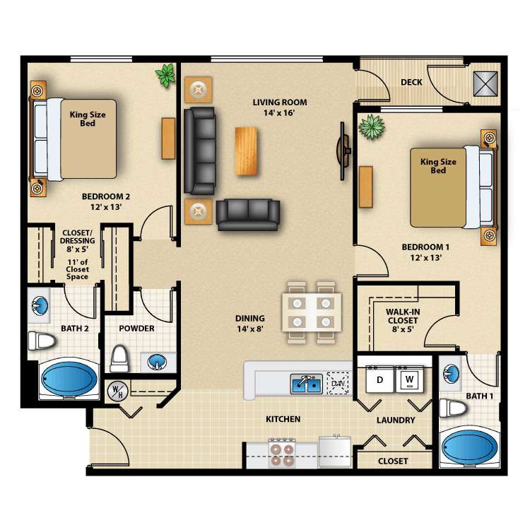 Floor plan image of Two Bed Double Master