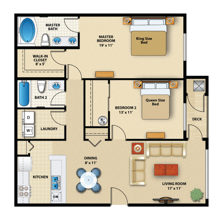 Floor plan image of Two Bed Interior