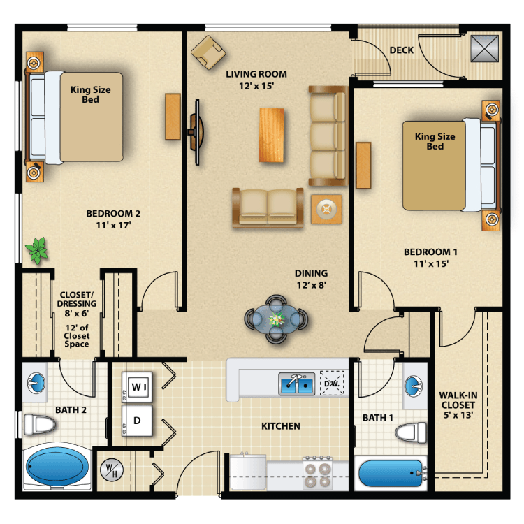 Floor plan image of Two Bed Exterior