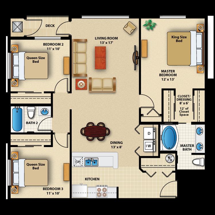 Floor plan image of Three Bed