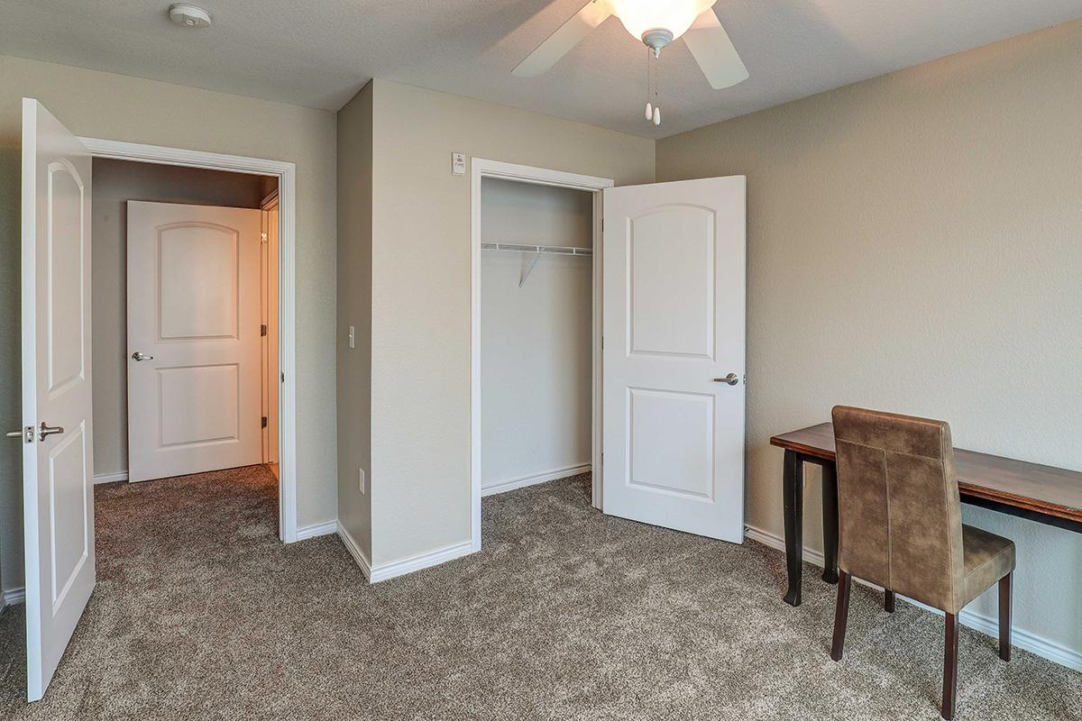 a room filled with furniture and a door