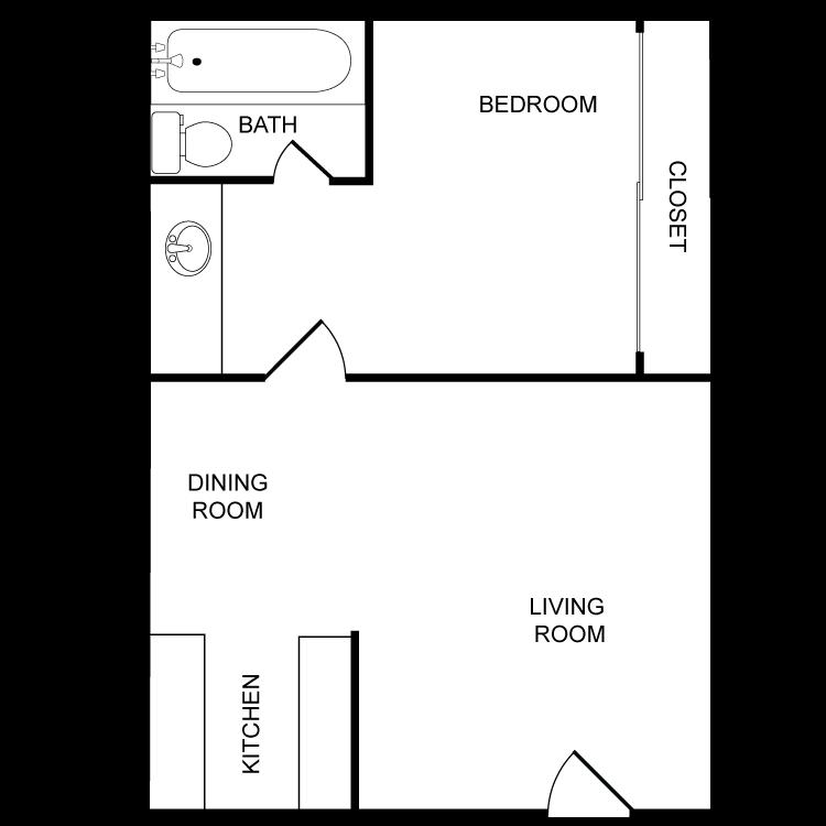 Floor plan image of One Bedroom - One Bath