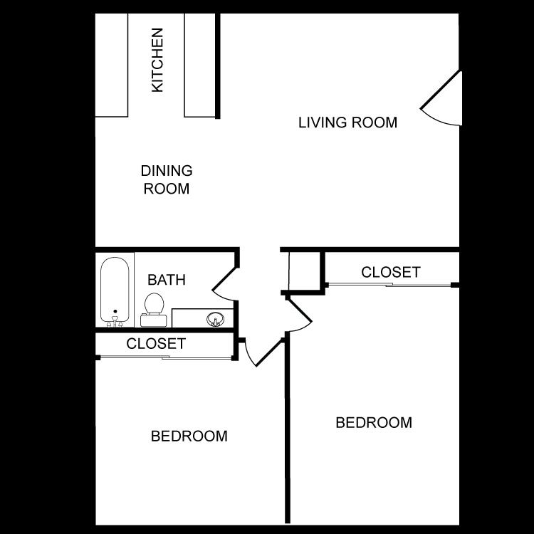 Floor plan image of Two Bedroom - One Bath