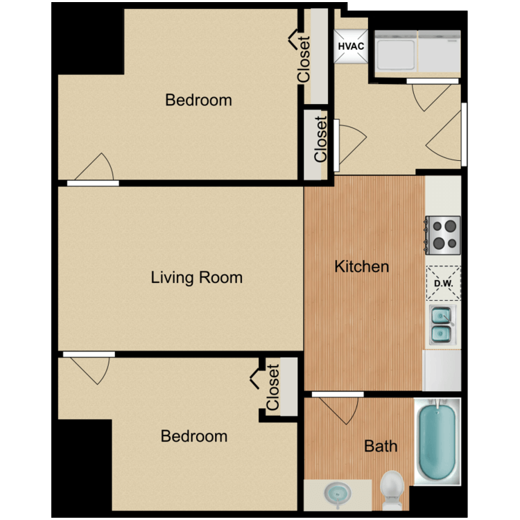 Floor plan image of 2 Bedroom A