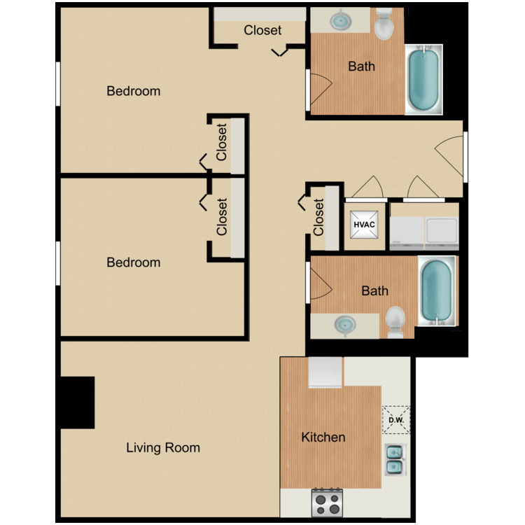 Floor plan image of 2 Bedroom C